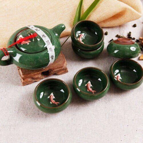 Bộ ấm chén uống trà hình cá 3d bằng gốm sứ Chiết Giang cao cấp