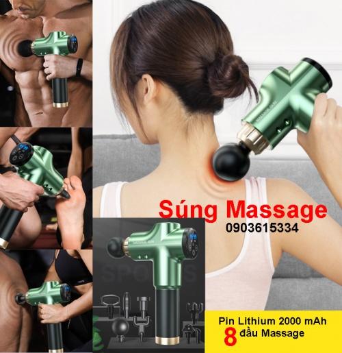 Súng Massage Gun Pin Lithium 2000 mAh 8 đầu Chợ bán sản phẩm xe điện đẹp tốt cao cấp uy tín giá rẻ